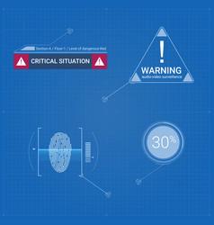 Set digital sign in on blueprint background vector