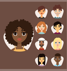 Set diverse round avatars with facial features vector