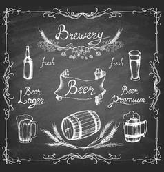 set hand drawn beer on chalkboard vector image