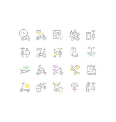 set line icons bike and scooter sharing vector image
