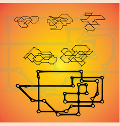 set of six mechanical schemes engineering vector image