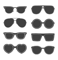 Set sunglasses silhouettes vector