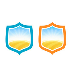 Shield badges with farm field of wheat vector
