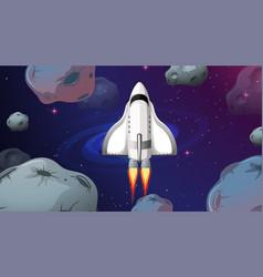 Space ship flying through asteroids vector