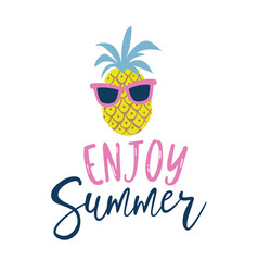 summer cartoon style pineapple in sunglasses label vector image