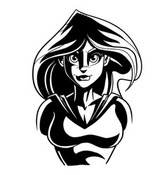 Superheroine dark portrait line art vector