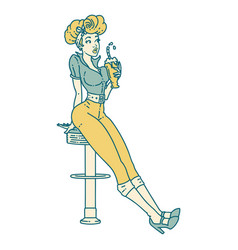 Tattoo style icon a pinup girl drinking a vector