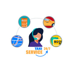 taxi service operator support phone call center vector image