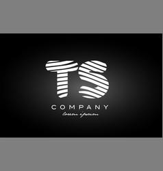ts t s letter alphabet logo black white icon vector image