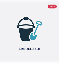 Two color sand bucket and shovel icon from summer vector
