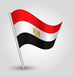 Waving simple triangle egyptian flag on slanted vector