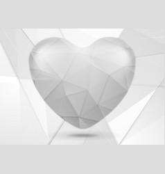 White grey polygonal tech heart design vector