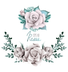 White roses vignette collection vector
