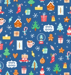 Winter holidays symbols repeat pattern vector