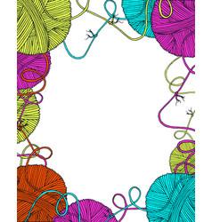 Yarn balls decorative frame vector