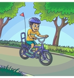 Young boy riding a bicycle on street vector