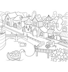 children coloring fairy city with river vector image