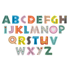 decorative alphabet in scandinavian style color vector image vector image