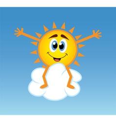 happy sun over a cloud vector image vector image