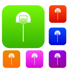street basketball hoop set collection vector image