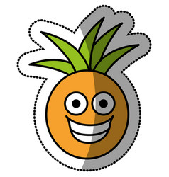colorful kawaii fruit pineapple happy icon vector image