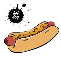 hotdog with mustard vector image vector image