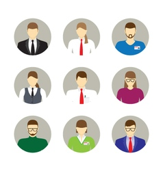 Male and female faces avatars icons vector image