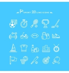 Set of White Icons Sport Equipment vector image vector image