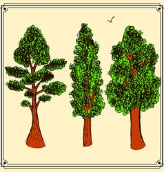 Sketch trees set in vintage style vector image vector image
