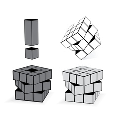 The Cube In Three Variation vector image