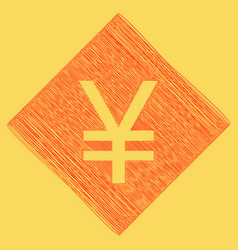 yen sign red scribble icon obtained as a vector image