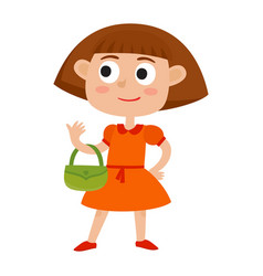 cartoon cute girl with small bags vector image vector image