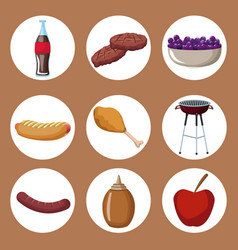 Color background with circular frames of picnic vector