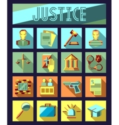 Set of law and justice flat icons with lawyer vector image