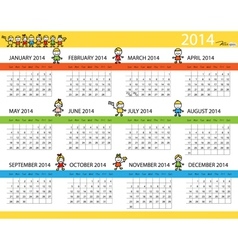 Simple 2014 year calendar vector image vector image