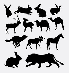 various mammal animal silhouette vector image vector image