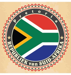 Vintage label cards of South Africa flag vector image