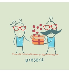 a person gives a gift with hearts girl vector image vector image