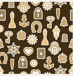 Charm good luck symbols seamless pattern vector