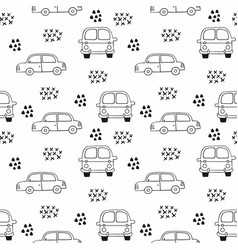 Childrens seamless pattern with cars outline vector