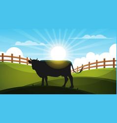 cow in the meadow - cartoon landscape vector image vector image