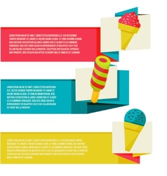 Decorative ice cream paper banners set vector