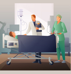 doctor and sick flat composition vector image