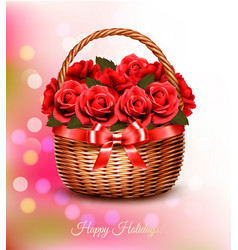 holiday background with red flowers and basket vector image vector image