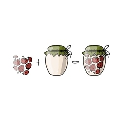 Jar with strawberry jam sketch for your design vector image