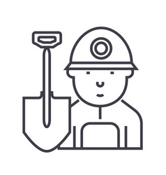 minerworker line icon sign vector image