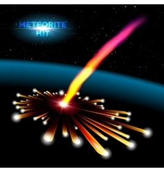 Space card with meteorite explosion vector image vector image