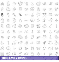 100 family icons set outline style vector