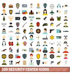 100 security center icons set flat style vector
