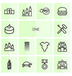 14 one icons vector